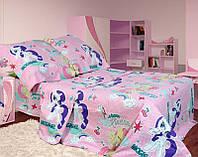 Комплект детского постельного полуторного белья Маленькие пони, Бязь Люкс, Тиротекс, светло-розовый