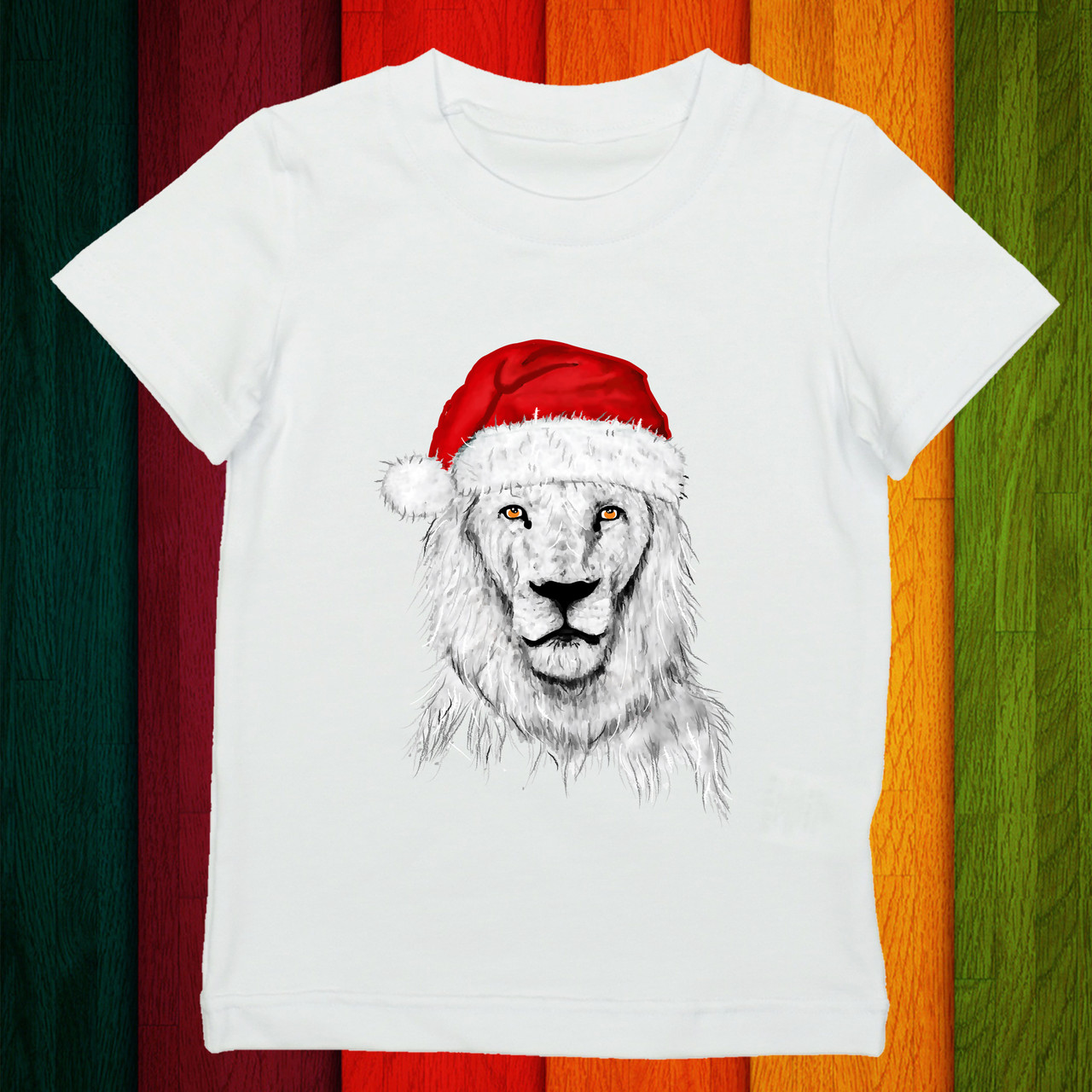 """Футболка с принтом """"Белый лев в новогодней шапке"""" Push IT"""