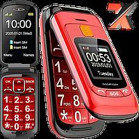 Бабушкофон-раскладушка MAFAM F899 Red/Black, Сенсорный телефон раскладушка для пожилых Mafam F899 Flip