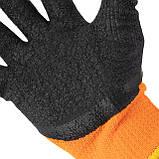 """Перчатка оранжевая вязанная акриловая утепленная, покрытая черным морщинистым латексом 10"""" INTERTOOL SP-0116, фото 2"""