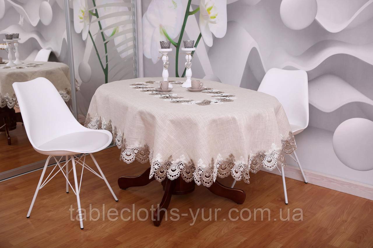 Скатерть Лен с Кружевом 150-220 «Premium» Овальная с Серединой Серая
