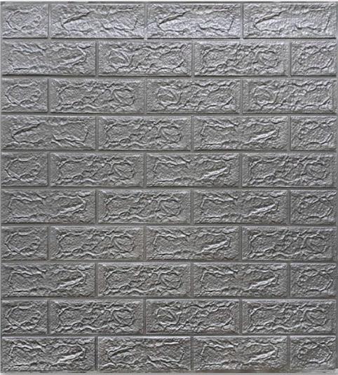 Самоклеючі 3Д панелі, декоративні стінові панелі 5 мм, цегла Срібло