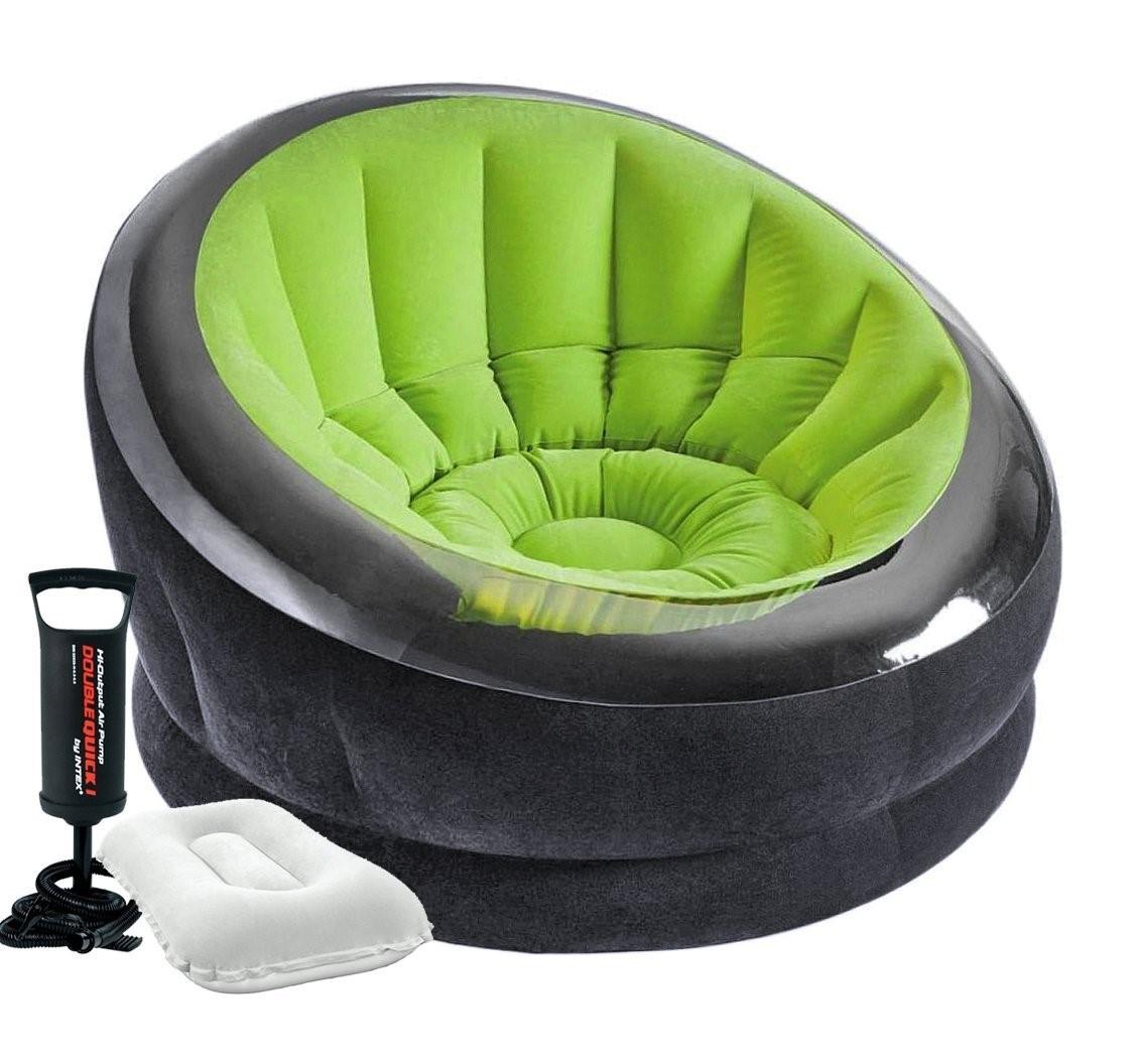 Надувное кресло Intex, 112х109х69 см, с ручным насосом и подушкой, зеленое