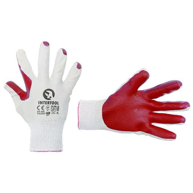 Перчатки рабочие стекольщика ( каменщика ) красные трикотажные с латексным покрытием [] INTERTOOL SP-0004