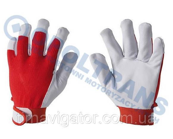 Рукавички робочі шкіряні м'які 9-розмір (червоні)