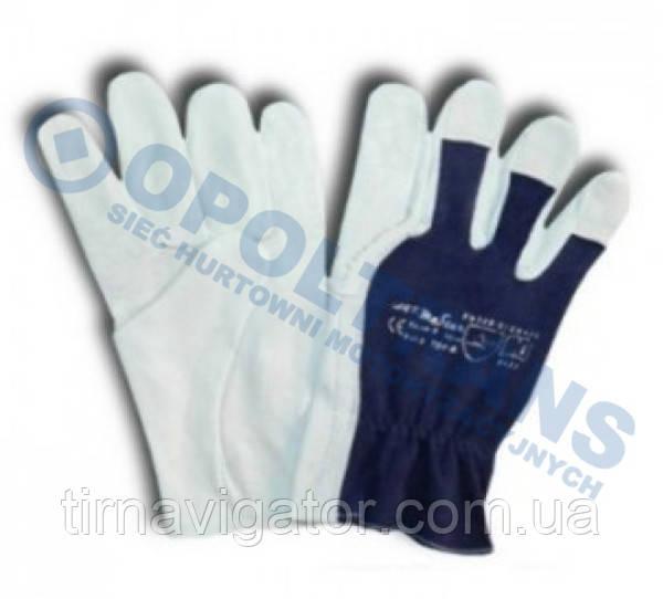 Рукавички робочі шкіряні м'які 9-розмір (синьо-сірі)