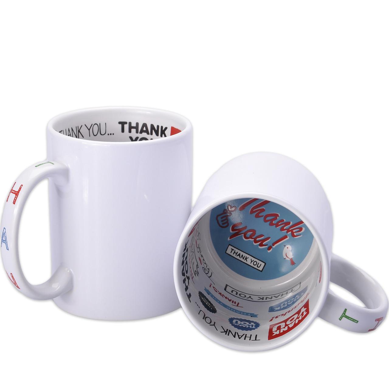 Чашка сублимационная белая с рисунком внутри 330 мл (Thank You)