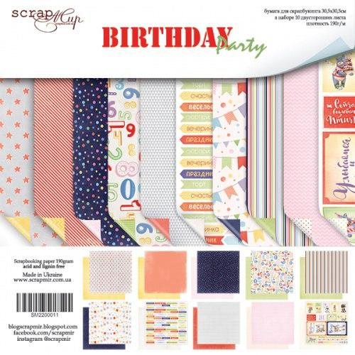 "Набор двусторонней бумаги 30х30см от Scrapmir ""Birthday Party"""