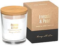Ароматическая соевая свеча Bispol фрезия - груша 9,2 см (sn73-326)