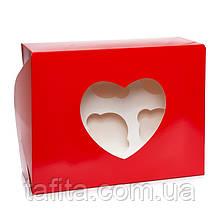 Коробка на 6 капкейков с окном красная сердце