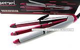 Прасочка для волосся гофре плойка 3 в 1 Gemei GM 2966 White Pink Щипці випрямляч, фото 2