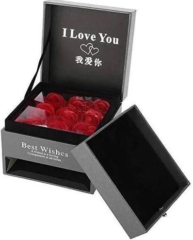 Шкатулка для подарка Коробка с розой из мыла и отделением под украшение Best Wishes подарок девушке маме