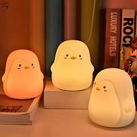 Ночник светильник силиконовый детский пингвин