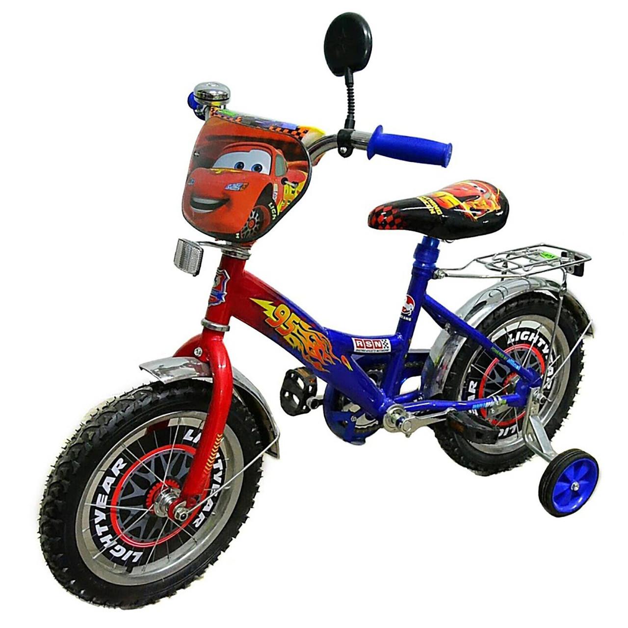 Детский велосипед Mustang Тачки 12 дюймов сине-красный