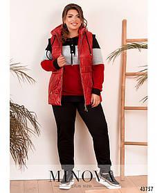 Красный спортивный костюм-тройка с жилеткой на синтепоне и плащевки, больших размеров от 50 до 64