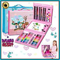 Детский набор для рисования в удобном кейсе с ручкой + Мольберт