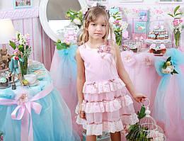 Розовое праздничное платье р-р 116