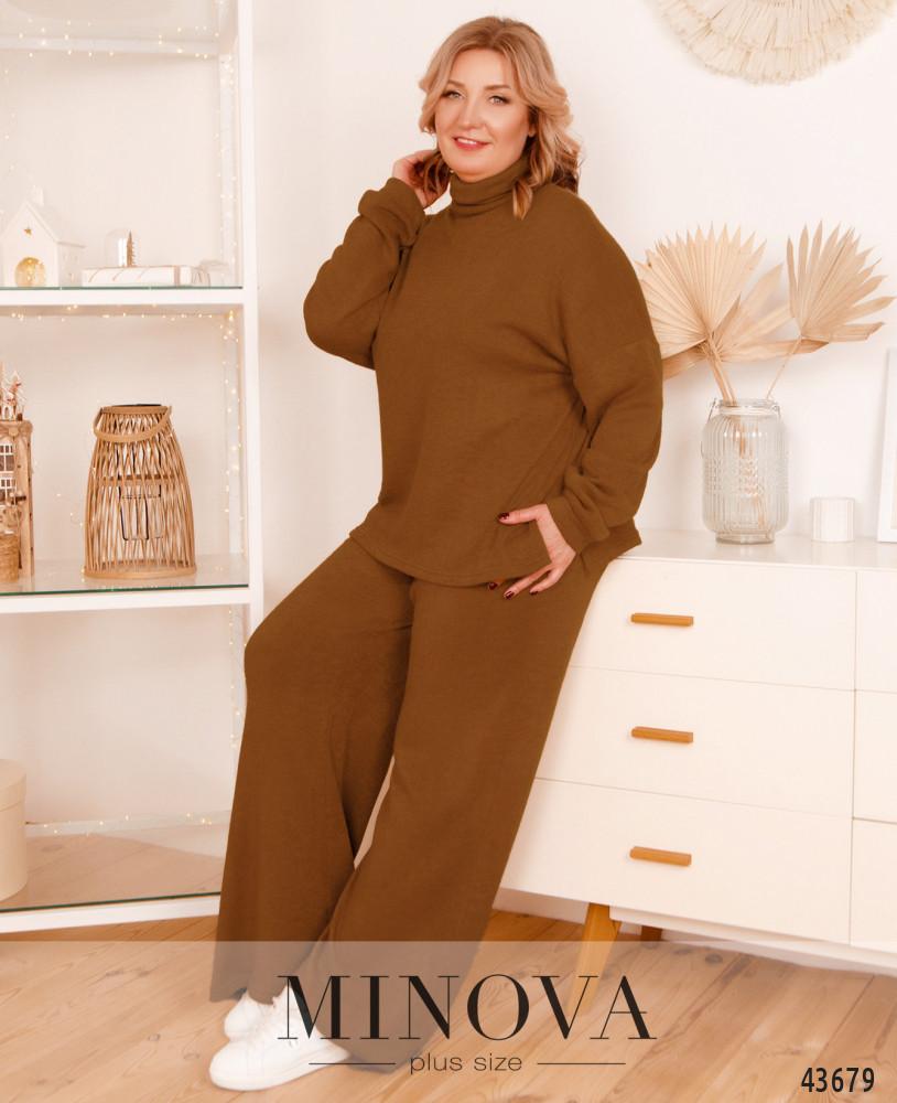 Брючный женский костюм свободный из ангоры,  больших размеров от 48 до 58