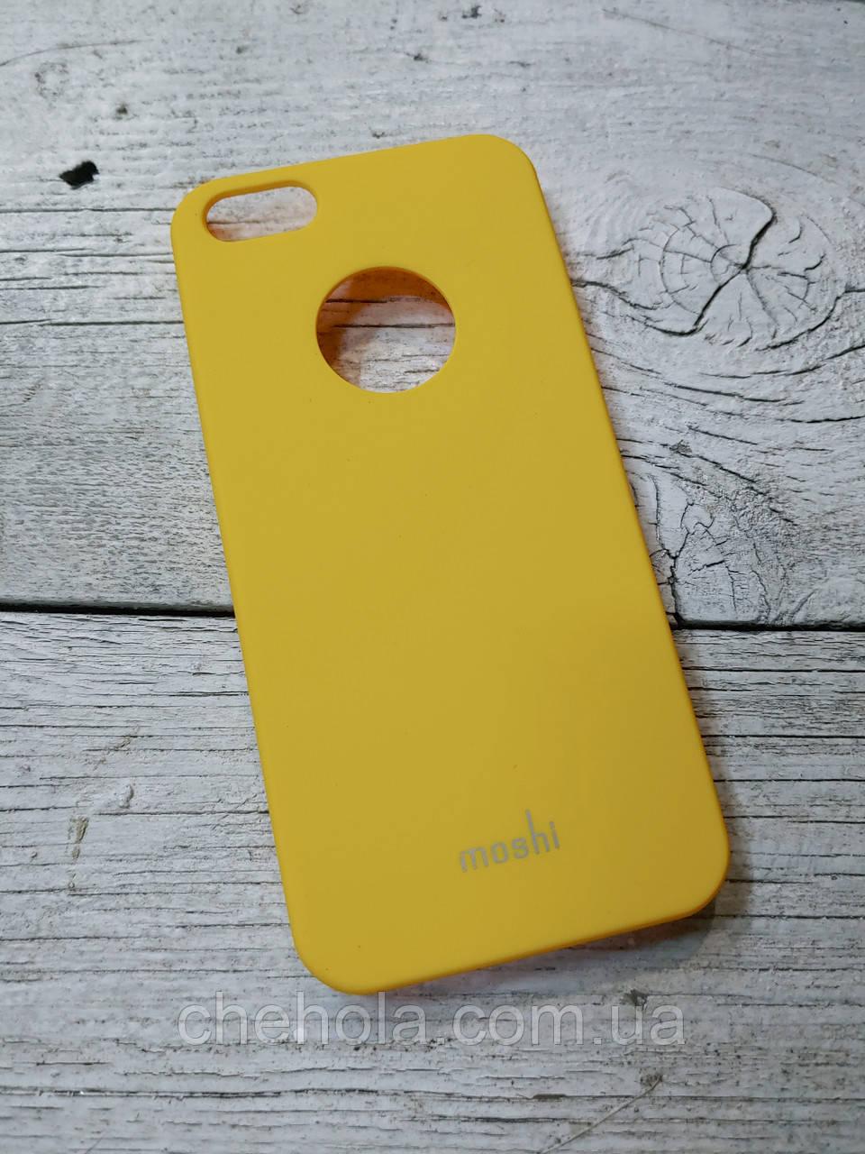 Прорезиненый Чехол для Iphone 5 5S SE Moshi Iglaze Желтый