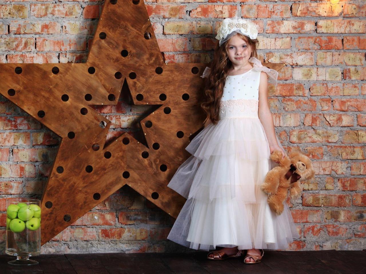 Нарядное платье на выпускной  (персиковое и белое) ТМ МОНЕ р-р 116