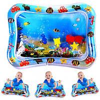Детский надувной водный коврик-аквариум голубой