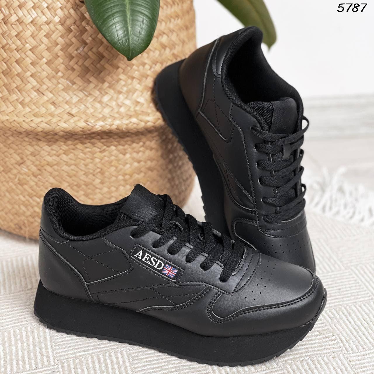 38 р Кроссовки женские черные на подошве на низком ходу из искусственной кожи кожаные черного цвета спортивные