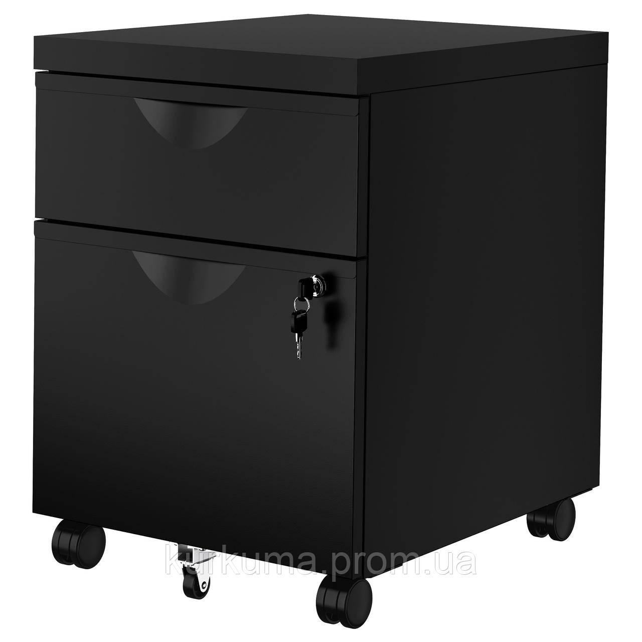 IKEA ERIK Комод с 2 ящиками, черный, 41x57 см (603.410.01)