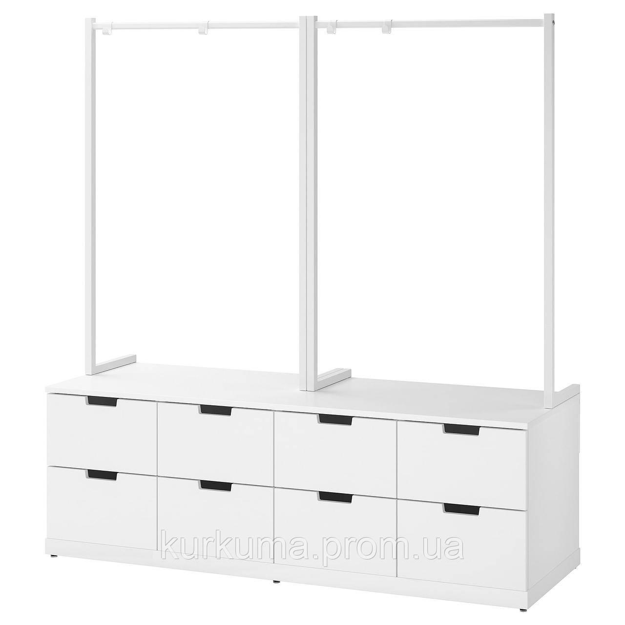 IKEA NORDLI Комод с 8 ящиками, белый, 160x169 см (492.952.08)
