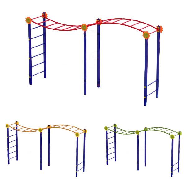 """Рукохід """"Хвиля"""" з двома перемичками DIO656.1 для спортивного та дитячого майданчика"""