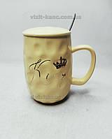 Чашка з кришкою і ложкою, фігурна Queen & King (6521)