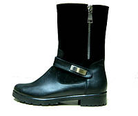 Ботинки  Б-150 черные из натурального замша фурнитура серебро