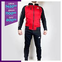 Мужской спортивный костюм Adidas червоний. Чоловічий спортивний костюм Adidas красный