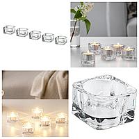 Набор подсвечников IKEA GLASIG для чайных греющих свечей таблеток, прозрачное стекло 5 штук ИКЕА ГЛАСИГ