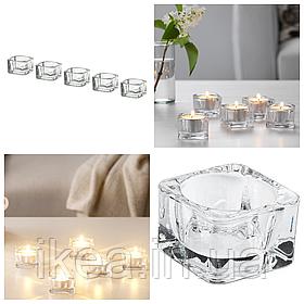 Набор подсвечников 5 шт IKEA GLASIG для чайных греющих свечей таблеток, прозрачное стекло ИКЕА ГЛАСИГ