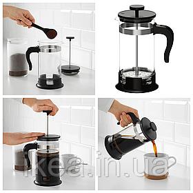 Френч-пресс 1л IKEA UPPHETTA стеклянный заварник для кофе и чая, заварочный чайник ИКЕА УППХЕТТА