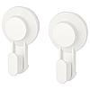 Гачки з вакуумною присоском IKEA TISKEN білі 2 шт вішалки для рушників ІКЕА ТІСКЕН, фото 2