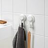 Гачки з вакуумною присоском IKEA TISKEN білі 2 шт вішалки для рушників ІКЕА ТІСКЕН, фото 3