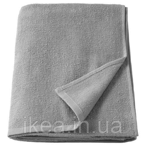 Банное махровое полотенце IKEA KORNAN 80% хлопок 20% вискоза 100x150 см серое ИКЕА КОРНАН