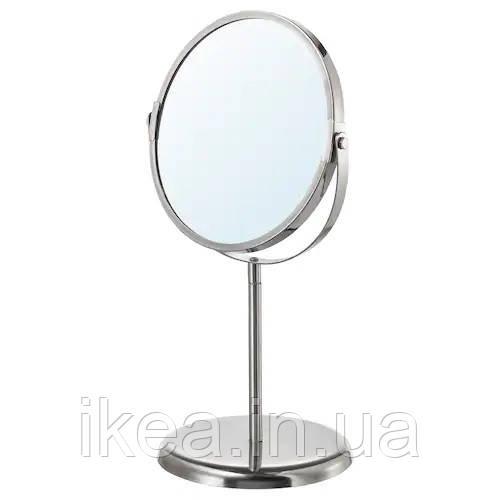 Дзеркало косметичне IKEA для макіяжу двостороння настільне з нержавіючої сталі ТРЕНСУМ ІКЕА
