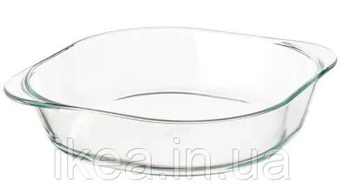 Форма для запекания IKEA FÖLJSAM 24,5x24,5см стеклянная жаропрочная квадратная кастрюля для выпекания ИКЕА