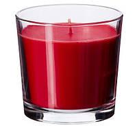 Свеча ароматическая в стакане красная декоративная IKEA SINNILIG 9 см х 40 часов горения ИКЕА СІНЛІГ