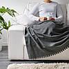 Плед флисовый IKEA POLARVIDE мягкий тёплый серый 130x170 см ИКЕА ПОЛАРВІДЕ, фото 5