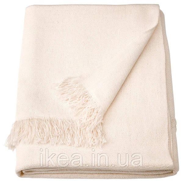 Плед акриловый мягкий тёплый белый 130x170 см IKEA INGRUN ИНГРУН ИКЕА