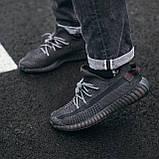🔥 Кроссовки мужские Adidas Yeezy Boost 350 адидас изи буст черные повседневные спортивные рефлективные, фото 3