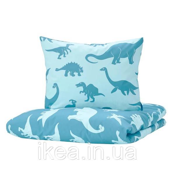 Комплект дитячої потельного білизни блакитне з динозаврами 100% бавовна IKEA JÄTTELIK ЄТТЕЛІК ІКЕА