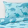 Комплект дитячої потельного білизни блакитне з динозаврами 100% бавовна IKEA JÄTTELIK ЄТТЕЛІК ІКЕА, фото 4