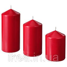 Набор свечей восковых красных (3 шт) IKEA FENOMEN декоративные свечи столбики ИКЕА ФЕНОМЕН