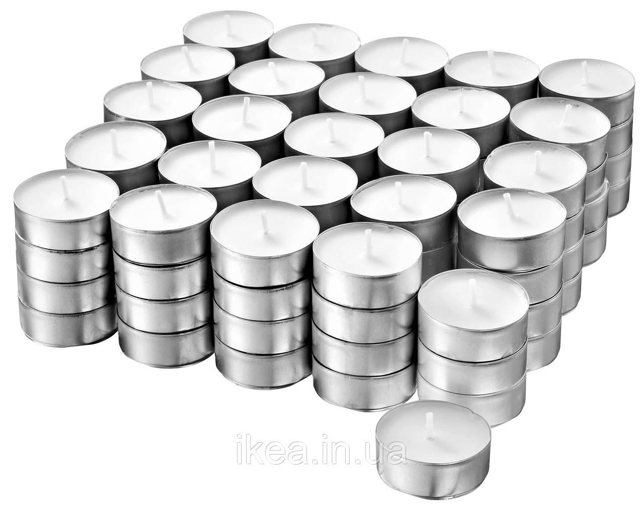 Свічки таблетки чайні IKEA GLIMMA 500 шт х 4 години горіння, декоративні плаваючі свічки ГЛІММА ІКЕА