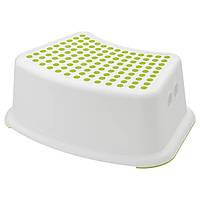 Подставка - ступенька детская пластиковая бело-салатовая IKEA FÖRSIKTIG стул-стремянка табурет ИКЕА ФЕРСІКТІГ