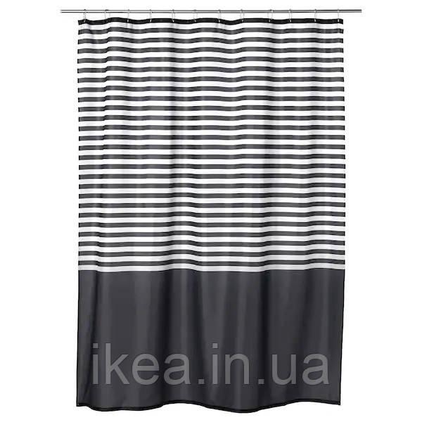 Шторка для ванной и душа чёрно-белая в полоску IKEA VADSJÖN 180x200 см ИКЕА ВАДШЕН